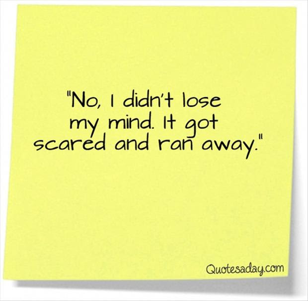 Funny Quotes No I Didnt Loose My Mind It Got Scared And Ran Away