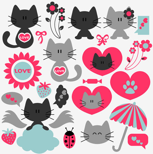 Download Cute kittens vector set Free vector in Encapsulated ...