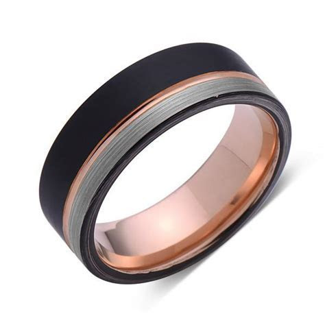 Rose Gold Tungsten Wedding Band   Black and Gray Brushed
