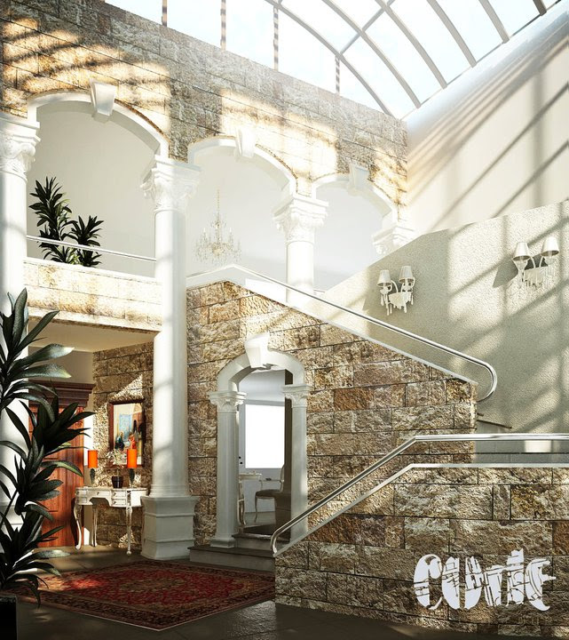 This entrance hallway evokes Jordan culture with stone stairwells, persian rugs, ornate columns and doorways, and an array of exotic plants.  The glass domed ceiling beautifully allows pools of light to brighten the space and make it appear as if one may be outdoors.