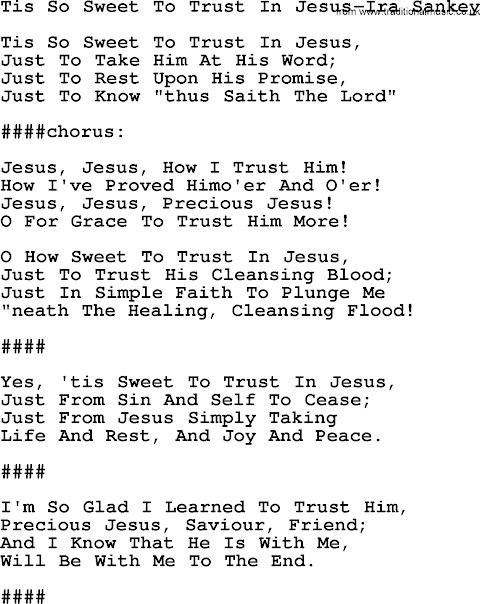 Tis So Sweet Lyrics