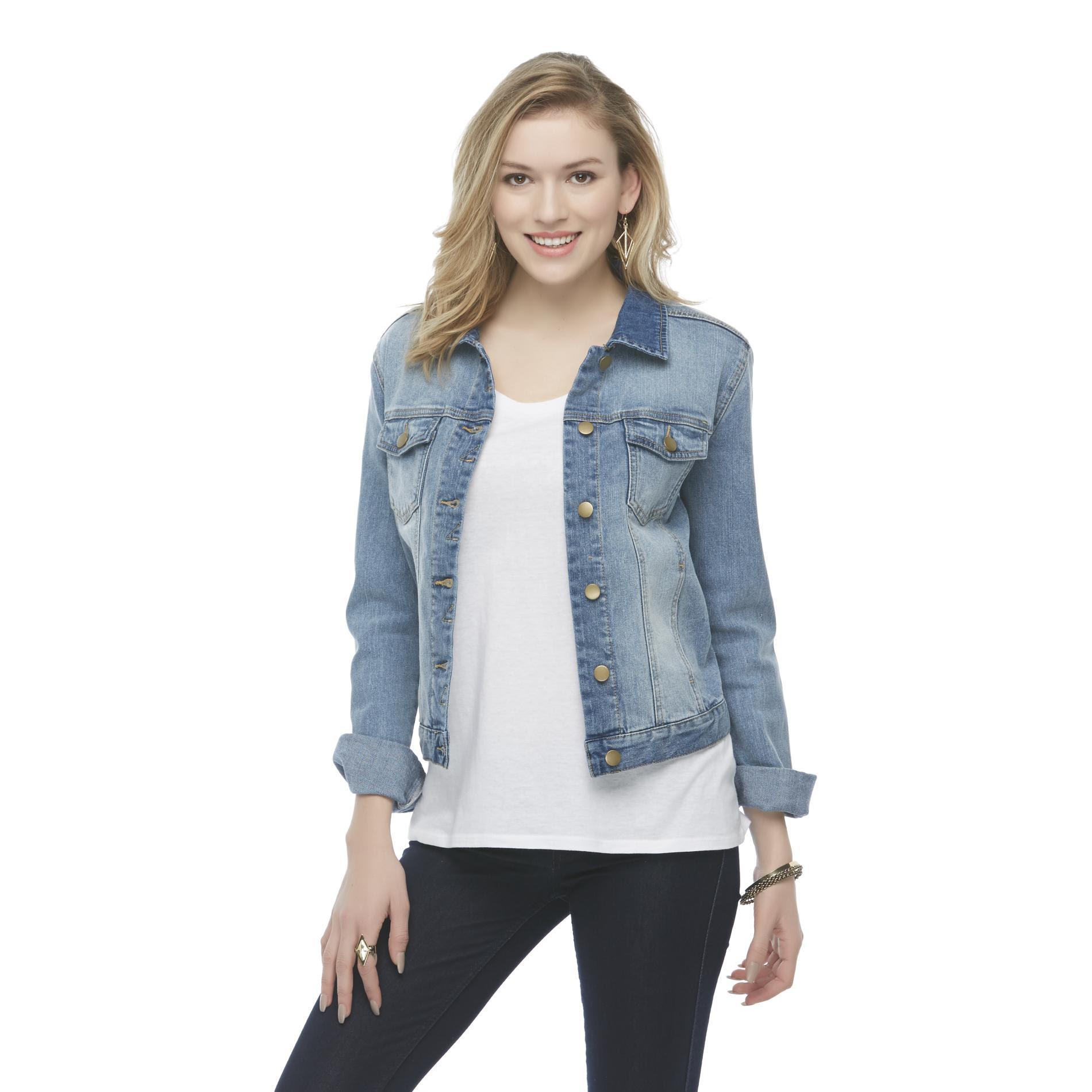 attention women's distressed denim biker jacket  clothing
