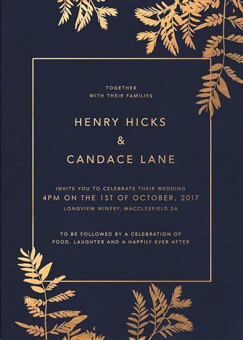 Navy Luscious Fern Foil Wedding Invitations in 2019
