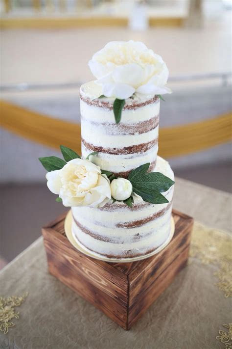2 tier semi naked cake , salted caramel cookie and