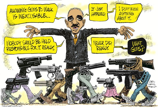 Holder and Walking Guns COLOR © Daryl Cagle,MSNBC.com,Eric Holder, Attorney General, Fast and the Furious, walking guns, congress, hearings, FBI
