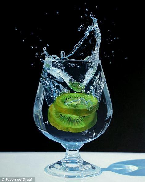 Kiwi Splash: Acrylic on canvas 30in x 40in
