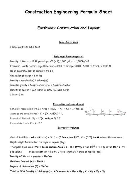 Construction engineering formula sheet
