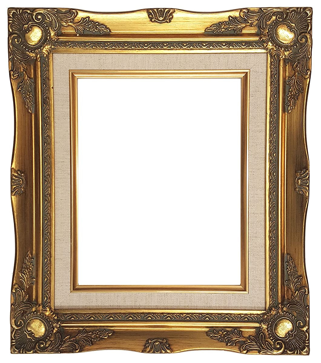 Ornate Baroque Gold Painted Wooden Frame With Cream Linen Liner