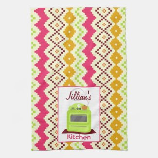 Zigzags & Retro Stove Personalized Kitchen Towel kitchentowel
