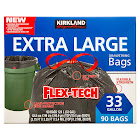 Kirkland Signature Flex-Tech 33-Gallon Trash Bag, 90-Count