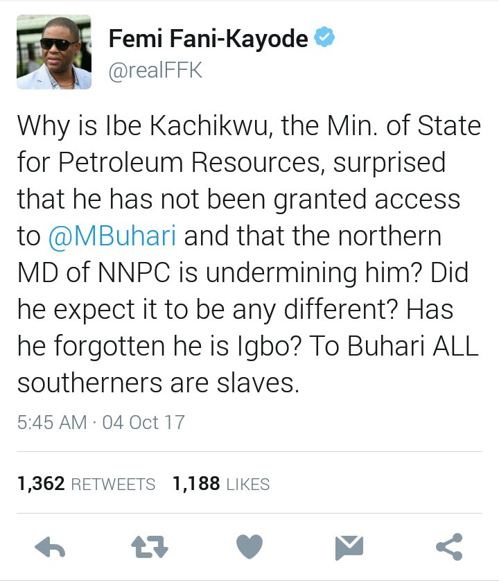 """FFK: """"Why Ibe Kachikwu Has Not Seen Buhari. PMB Sees All Southerners As Slaves"""""""