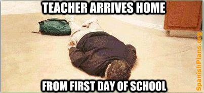 Teacher arrives home from first day of school (or the new term)