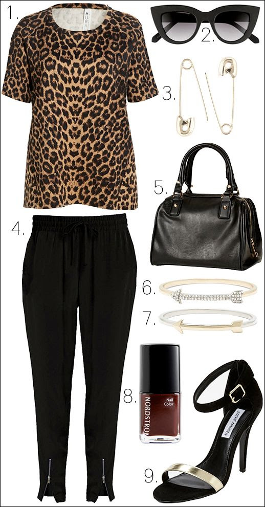 LE FASHION OUTFIT COLLAGE NORDSTROM SAVVY Mural Cheetah Top ANIMAL LEOPARD PRINT TEE TSHIRT Quay Kitti CAT EYE Sunglasses Carbon Copy GOLD Safety Pin Earrings Leith BLACK Woven Track Pants WITH ANKLE ZIPPERS Topshop Medium Faux Leather Bowling Bag WITH CHAIN STRAP MSALL DUFFLE BAG Leith Pave Arrow Bangle Leith  GOLD AND SILVER Arrow Bangle Nordstrom Nail Color in BURGUNDY French Wine Steve Madden Realove Pumps HEELED SANDALS BLACK SUEDE AND GOLD TOE STRAP SUMMER SPRING INSPIRATION photo LEFASHIONOUTFITCOLLAGENORDSTROMSAVVYMuralTopQuaySunglassesCarbonCopyEarringsLeithTrackPantsTopshopBagLeithBanglesNordstromNailColorSteve.jpg