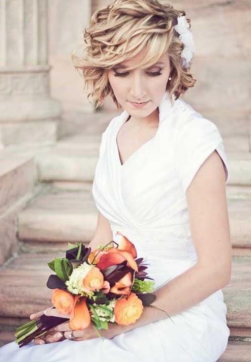 acconciature sposa capelli corti mossi - Capelli corti sposa (Foto) Matrimonio PourFemme