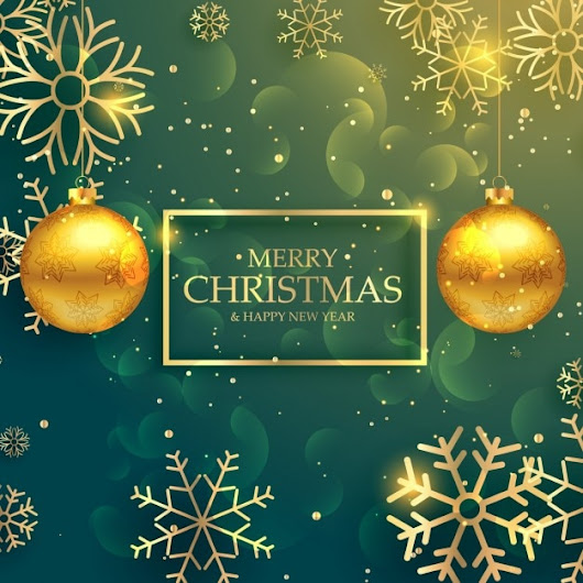 Green christmas background with golden snowflakes