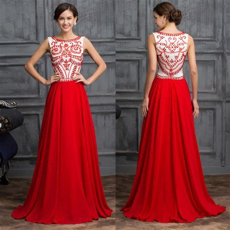 Luxury RED bridesmaid Wedding Guest Long Evening Dresses