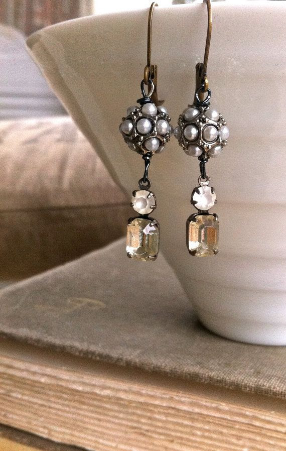 Rue. rhinestone dropgrey pearl earrings. by tiedupmemories on Etsy, $36.00