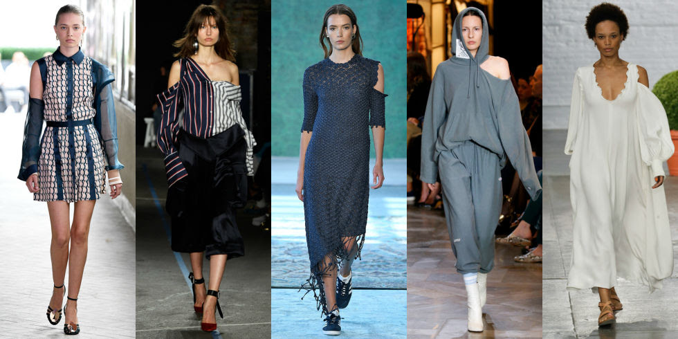 Fashion's obsession with shoulders rages on, manifesting itself in strategically placed cutouts for maximum impact. Left to Right: CG, Monse, Hellessy, Vetements, Tibi