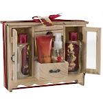 Freida and Joe - French Vanilla Spa Bath Gift Set in Natural Wood Curio