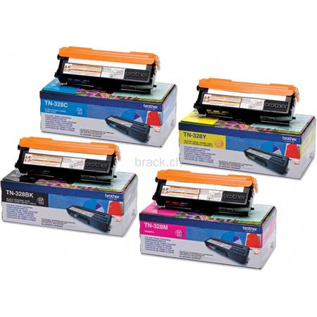 1 full set of Brother TN328BK and 1 x Colour Set TN328C/Y Original Toner Cartridges