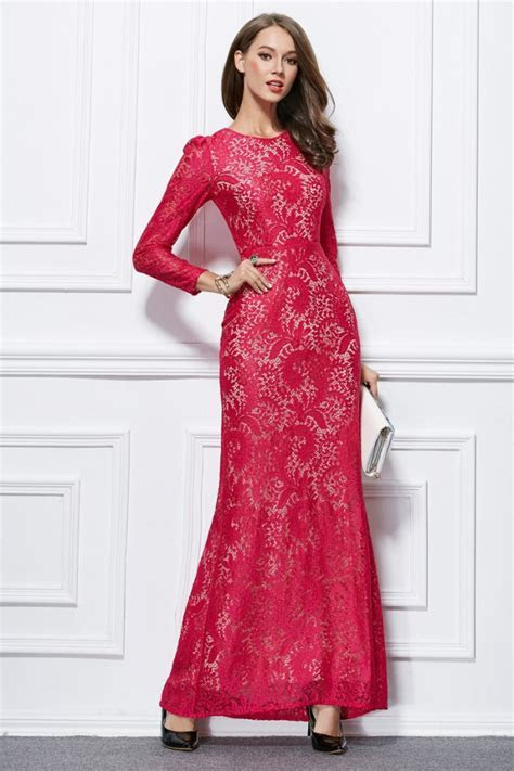 Celebrity Inspired Long Sleeve Lace Formal Dress Evening