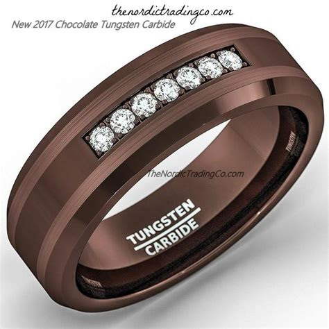 espresso brown tungsten carbide mens wedding band