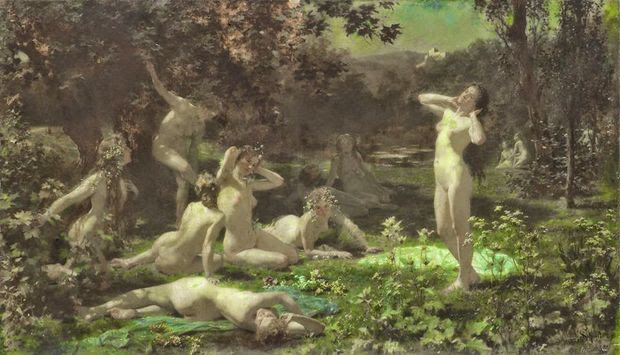 Julius Schmid 1854-1935 Wood Nymphs in The Moonlight 1900
