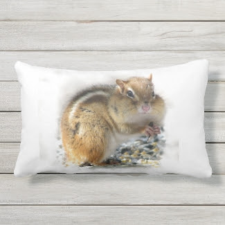 Feasting Chipmunk Animal Outdoor Pillow