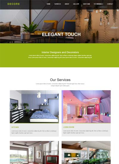 Decore Interior design HTML Bootstrap Website Template - WebThemez