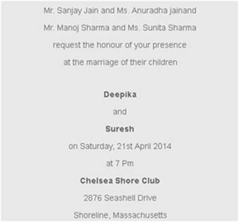 Hindu Wedding Ceremony invitation wordings for Daughter