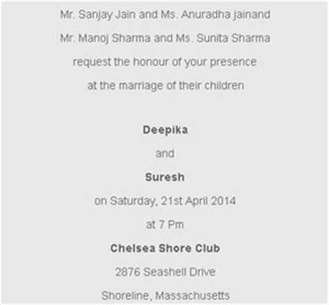 Hindu Wedding Ceremony invitation wordings for Daughter