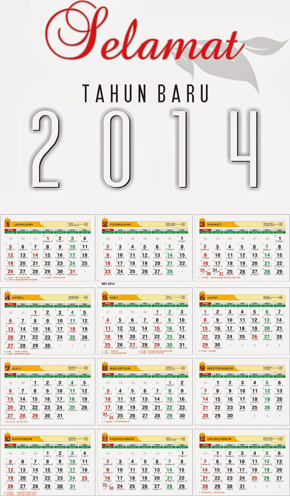 Kalender 2014 (Masehi/Hijriah/Jawa) dan Hari Libur