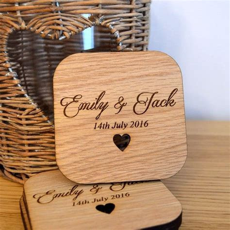 Personalised Wedding Table Coasters   Unique Wooden Favour