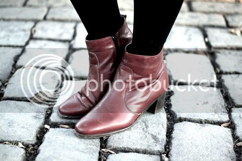 vintage leder stiefeletten cognac ankle boots