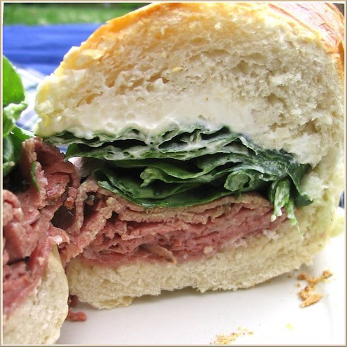 Salami, Pastrami, Spinach, and Cream Cheese Sandwich