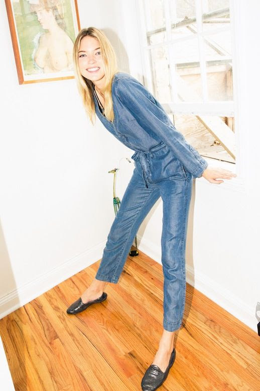 Le Fashion Blog Blonde Model Martha Hunt Fall Denim Jumpsuit Slip On Loafers Via The Coveteur
