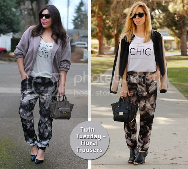 Target Style bloggers wear Mossimo drapey floral trousers for Twin Tuesday