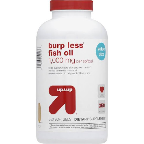 Up&Up Burp Less Fish Oil, 1000 mg, Softgels - 350 Count