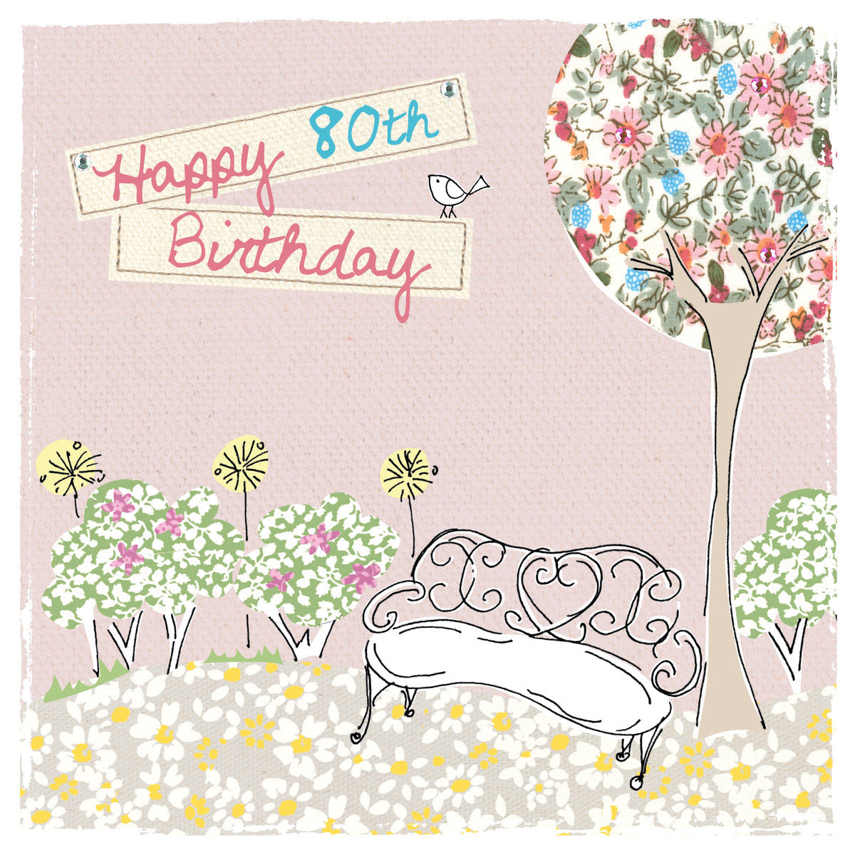 buy female 80th birthday card online garden bench flowers eightieth birthday card for her age eighty birthday cards_massive