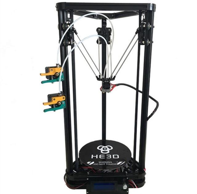 Cheap HE3D K200 dual heads delta 3d printer kit autoleveling