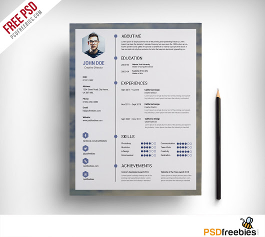 Free Clean Resume PSD Template - PSDFreebies.com