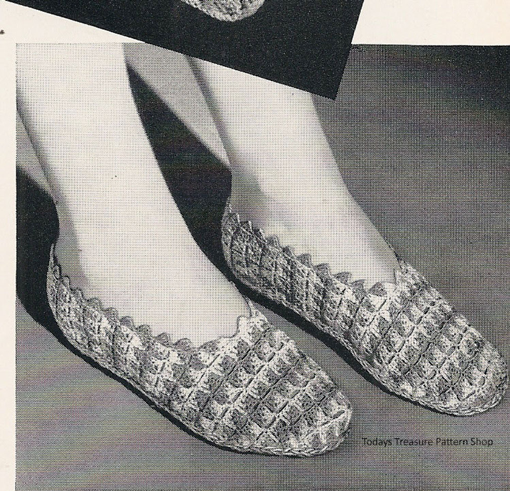 Vintage Rippled Crochet Slippers Pattern