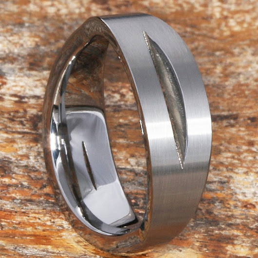 7mm Sculted Tungsten Wedding Band with Cut Through Design