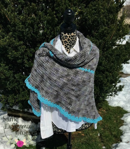 Misty River Shawl Free Crochet Pattern - Same DiNamics Crochet