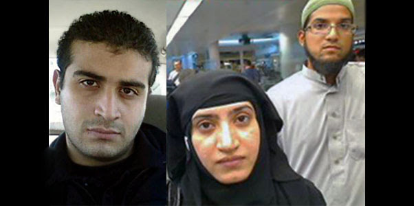 Orlando shooter Omar Mateen (left) and San Bernardino shooters Tashfeen Malik (center) and Syed Rizwan Farook (right)