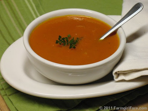 Sunburst Carrot Soup with fresh ginger, orange, and carrot juice