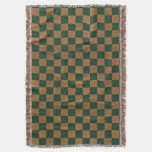 Country Dark Green and Tan Faux Burlap Throw Blanket