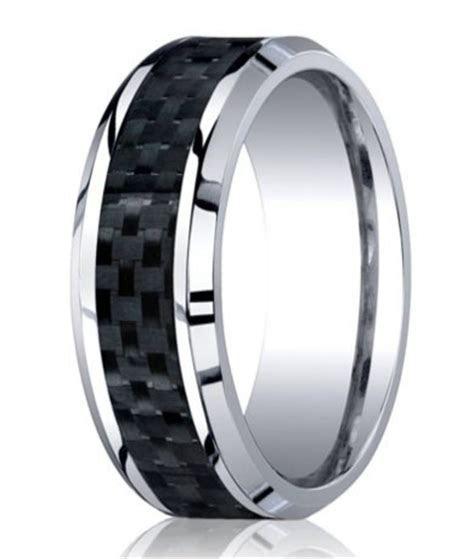 Designer Cobalt Wedding Band   Carbon Fiber Inlay