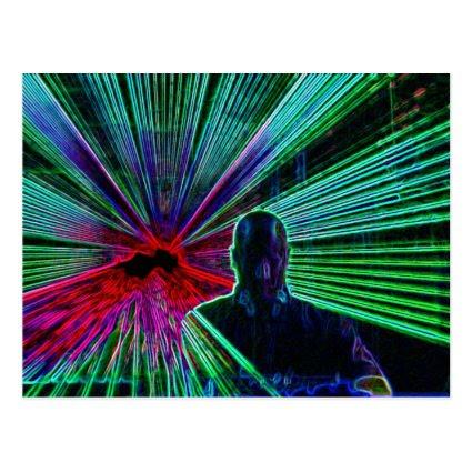 Lasers on DJ postcard