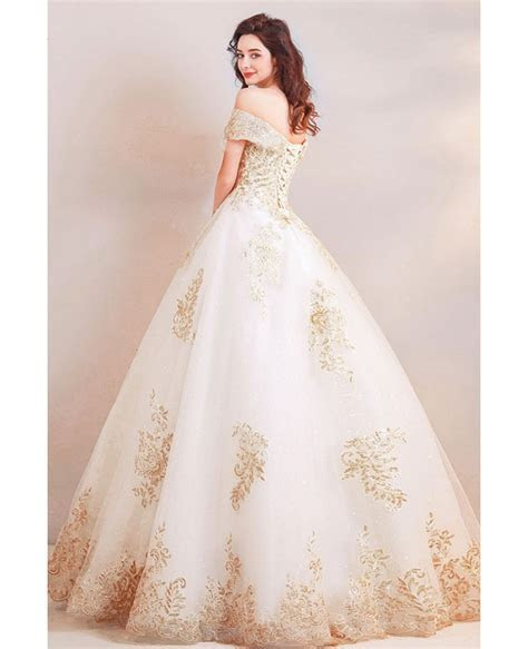 Luxury Gold Embroidery Ball Gown Wedding Dress Off